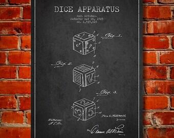 1925 Dice Apparatus Patent, Canvas Print, Wall Art, Home Decor, Gift Idea