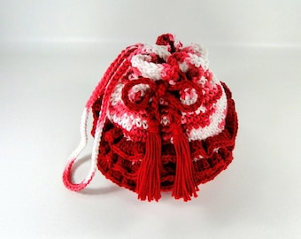 Ruffled Purse - Girl's Ruffled Purse - Little Girl's Purse - Crochet Purse - Make-up Bag - Cosmetic Bag - Strawberry Shortcake