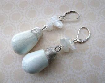 white and silver icicle sterling silver and ceramic earrings, UK handmade jewellery