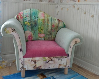 The Stunning Statment Chair Upholstered In  Casino Crush Mint/ Fushia /Cotton Stripes