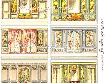 6 Images atc 2.25 by 3.25 Atc size Cards Tags French Rooms drawings Vintage Paper crafts Scrapbook Digital Download Printable