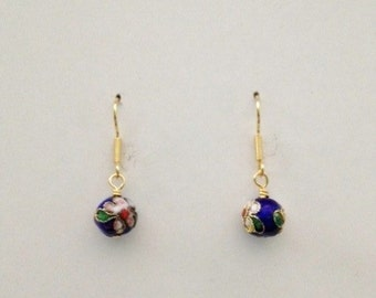 Blue Cloisonne-Style Earrings