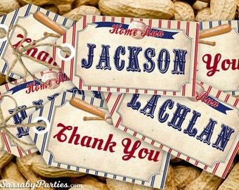 Vintage Baseball Party Tags - INSTANT DOWNLOAD - partially Editable & Printable Thank You, Gift, Baby Shower, Birthday Decorations