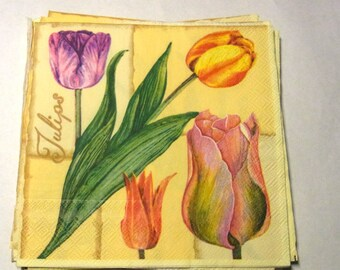 Decoupage Napkins,  vintage paper napkins,tulips