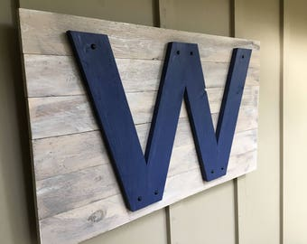 Wooden W Chicago Cub's Flag- Handmade