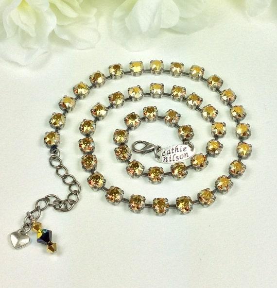 Swarovski Crystal Necklace and Bracelet -  Designer Inspired -  Dainty 6mm Radiant Golden Metallic Sunshine