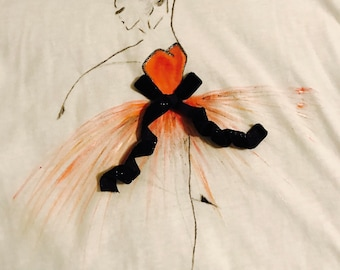 "Hand Paint T-shirt""Girl"",acrylic painting,handmade,children,baby clothing,gift,decor,design"