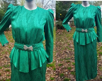 80s Dress, Cocktail Dress, Vintage Dress, Green Dress, Peplum Dress, Work Dress, St. Patricks Day, 80s Costume, Vintage Costume, Brocade