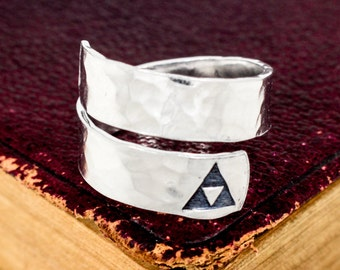 Triforce Wrap Ring - Triforce Twist Ring - Adjustable Ring - Textured Ring Silver Ring