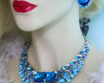 Rhinestone Necklace Earring Set Aqua Bridal Austrian Crystal Jewery Pageant Prom