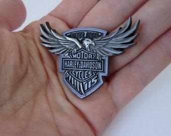 Vintage Harley Davidson Motorcycles Pin, Gunmetal Grey Biker Pin,  Push Pin Style Harley Biker Jewelry