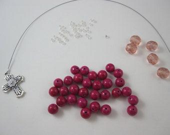DIY Prayer Bead Kit - Hot Pink Jade and Pink Fire-Polished Glass