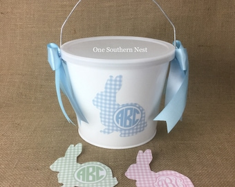 Personalized Easter basket, Easter bucket, Easter pail with Monogram.  Pastel Blue, Pink, or Green Plaid Bunny with monogram.
