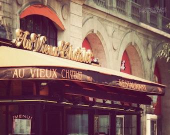Paris cafe photograph, French photo, fine art, travel photography, Paris art, kitchen decor, Paris print - Parisian Cafe