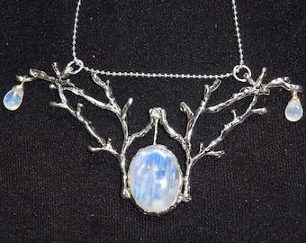 Pendant with 3 rainbow Moon stones, wedding, bridal jewelry, elf jewelry, elven wedding, woodland pendant, Fairy branch jewelery