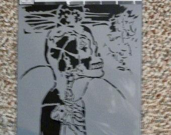SUBLIMINAL SKULL Skeleton laser cut stencil  9 x 12