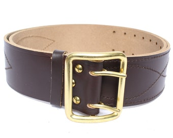 """Russian military brown Officers leather belt """"Portupeya"""""""