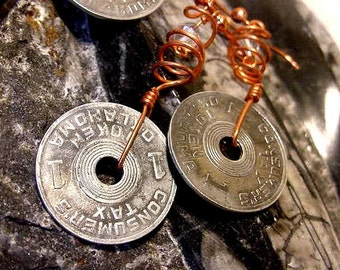Copper Twisters  Vintage Oklahoma Tax Mil Token Pieces on Copper Wire Necklace and Earring Set (10B36)