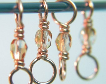 TINY SPARKLE Knitting Stitch Markers - Copper & Czech Glass - Dual Duty - for smaller needles - US3-US6