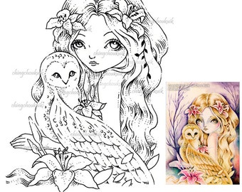 Little Talks - Digital Stamp Instant Download / Bird Owl Lily Fairy Girl Fantasy Art by Ching-Chou Kuik