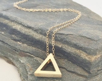 Triangle Necklace - Delicate Gold Triangle Necklace - Dainty Gold Triangle Necklace - Triangle Pendant - Simple Pendant - Geometric Necklace
