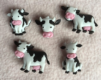MOOOVE IT! ~ Dress It Up Buttons ~ Mooove It! ~ 5 Black and White Cows
