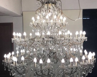 Sale Large 7ft Murano Chandelier, Monumental 72 Light Crystal Chandelier, Rare Vintage Maria Theresa Chandelier, Free Shipping USA