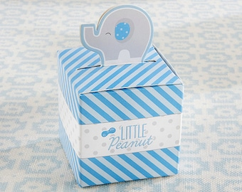 Blue Elephant Boxes - Set of 24 - Baby Boy Circus Theme Shower Candy Favor Boxes Party Favors - MW35852