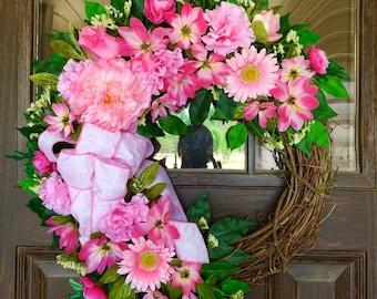 Etsy It's A Baby Girl Wreath   Grapevine Wreath   Baby Gift   Pink Wreath   Wreaths on Etsy   Etsy Wreaths