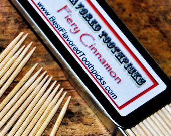Cinnamon Flavored Toothpicks - 70+ Flavors! Mens Stocking Stuffer, Mans, Boyfriend Gifts, Guy Gift, His , Grill, Stocking Stuffers Christmas