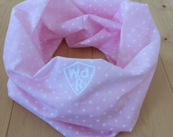 CTR infinity scarf - light pink with white dots