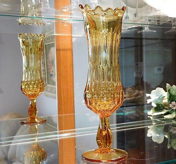 Amber Art Glass Swung Glass Vase / Stretch Pulled Glass Pedestal Vase / Mid Century MOD