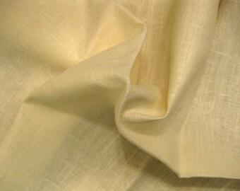 Ivory Solid Fine Upholstery Linen Designer Fabric Sample Highland Court