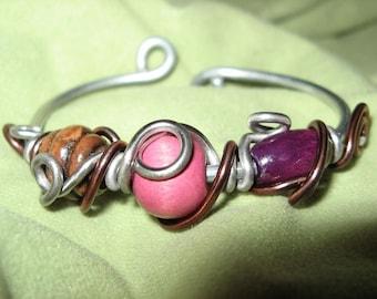 Bracelet fancy Cassis raspberry & chocolate aluminum and wood