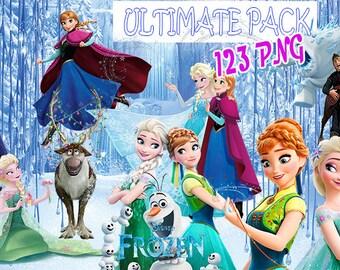 Digital Collage Disney Frozen Ultimate Set of 123 Printable Image clipart Frozen + Frozen Fever Anna, Elsa, Olaf..  Download