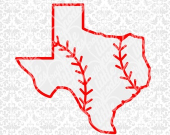 Texas Baseball Monogram Outline State Shape Set SVG STUDIO Ai EPS scalable vector instant download commercial cutting file cricut silhouette
