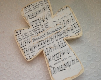 Blessed Assurance Wood Wall Hymnal Cross MADE TO ORDER