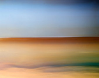 Inner Calm V, abstract landscape, blue, calming photo, giant wall art, giclee canvas, ready to hang canvas, all sizes, horizon photo
