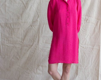 1980s Hot Pink Matelassé Silk Tunic