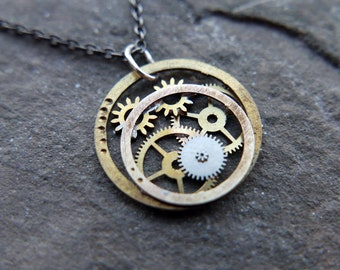 """Watch Parts Necklace """"Furud"""" Pendant Recycled Mechanical Watch Gears Intricate Sculpture Wearable Art Steampunk Assembly Gershenson"""