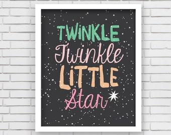 Baby Girl Nusery Decor Art Print Twinkle Star Design - Twinkle Twinkle Little Star - 8x10 or 11x14