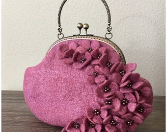 Pink/ Blush Floral Felted Mini Purse with Delicate Beading