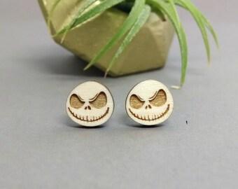 Jack Skellington Earrings - Laser Engraved Wood Earrings - Hypoallergenic Titanium Post Earring Pair - Nightmare Before Christmas