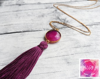 Agate Necklace, Tassel Necklace, Dainty long necklace, Layering necklace, Purple, Gold necklace, Gemstone necklace, Simple, Unique, For her