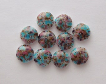 Fused Glass Mini Cabochons - Lampwork Beads - Fused Glass - Findings - Glass Beads - Pastel Beads 5632