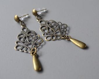 Earrings bronze chandelier vintage
