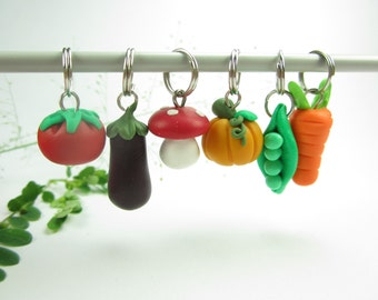 Vegetable Stitch Markers (Set of 6) pumpkin, eggplant, mushroom, tomato, pea pod, carrots, food polymer clay knitting stitch markers, vegan