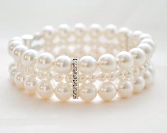 Bridal Cuff Bracelet, Pearl Bridal Bracelet, Bridal Jewelry, Wedding Jewelry