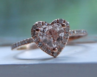 Heart Engagement ring. Peach champagne sapphire ring. Rose gold diamond ring by Eidelprecious