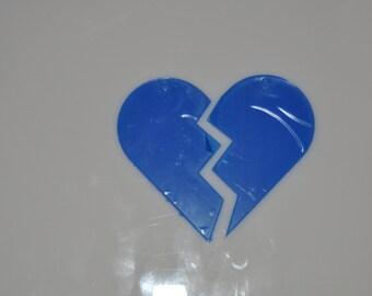 5 clear acrylic BEST FRIENDS split heart key chains